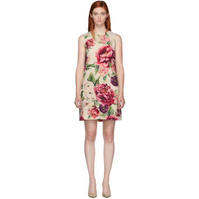 DOLCE AND GABBANA BEIGE AND PINK PEONY DRESS