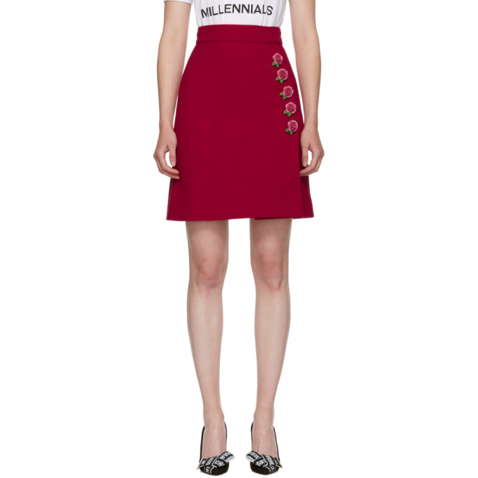 DOLCE AND GABBANA PINK ROSE BUTTONS A-LINE SKIRT