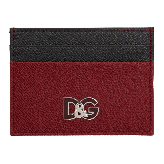 DOLCE AND GABBANA RED AND BLACK LOGO CARD HOLDER