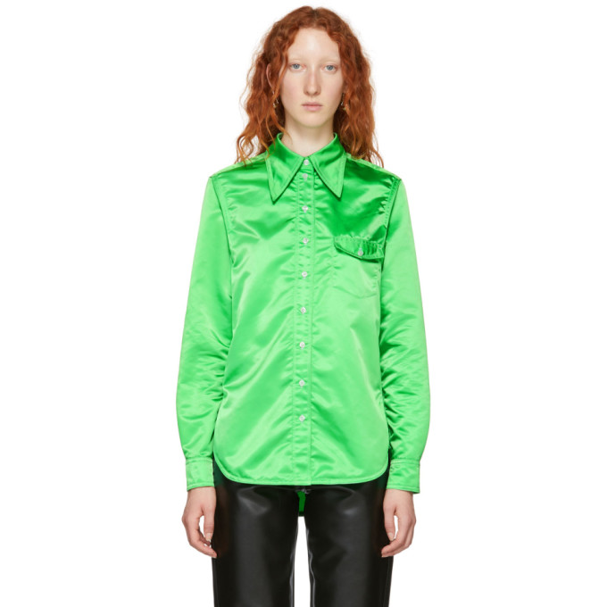 KWAIDAN EDITIONS GREEN POINTED COLLAR SHIRT