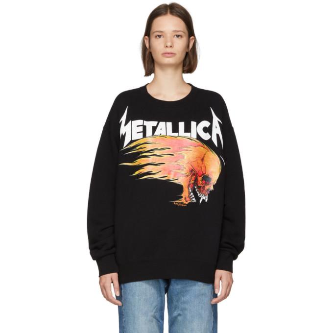 Printed Cotton Jersey Sweatshirt in Black