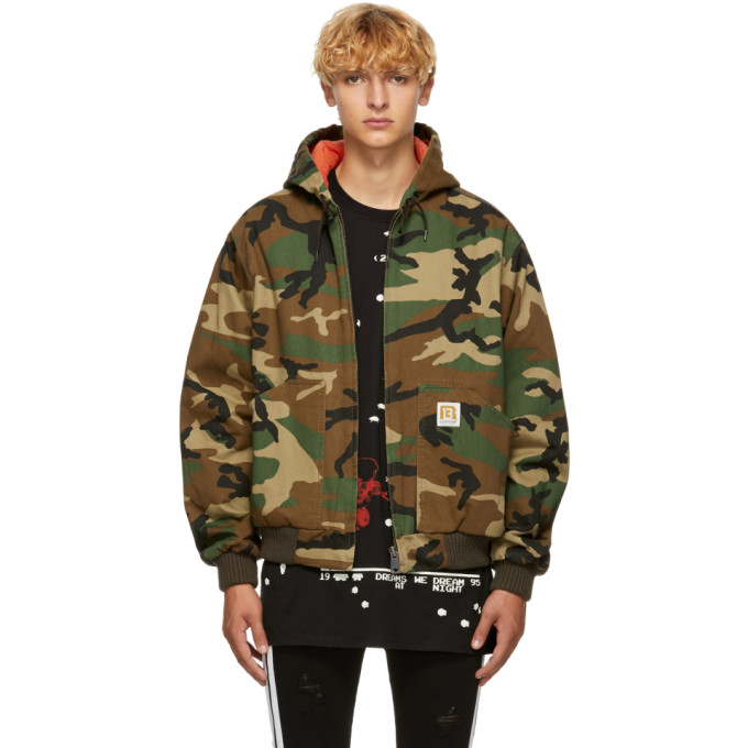 R13 GREEN CAMOUFLAGE DUCK JACKET