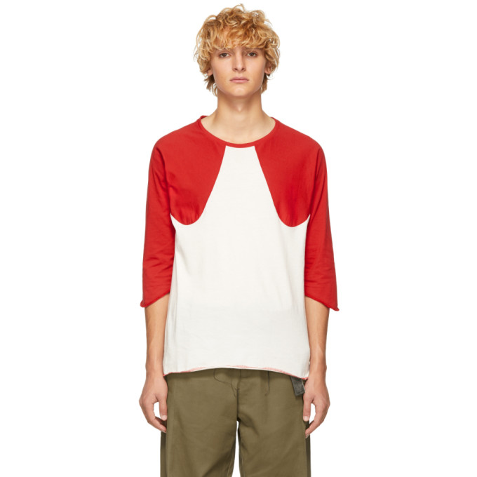 ST-HENRI SSENSE EXCLUSIVE RED AND OFF-WHITE SOFTBALL T-SHIRT
