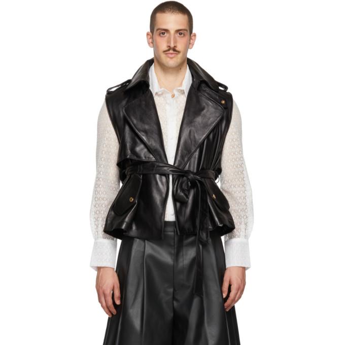 PALOMO SPAIN Palomo Spain Black Leather Vest