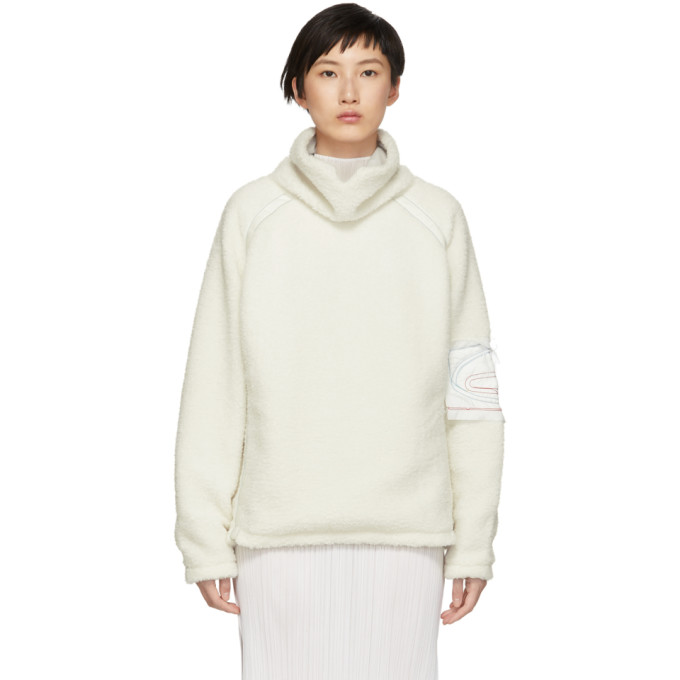 KANGHYUK Kanghyuk Off-White Faux-Fur Turtleneck Sweater in Off White