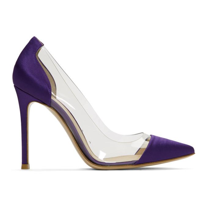Purple Satin and PVC Plexi Heels Gianvito Rossi