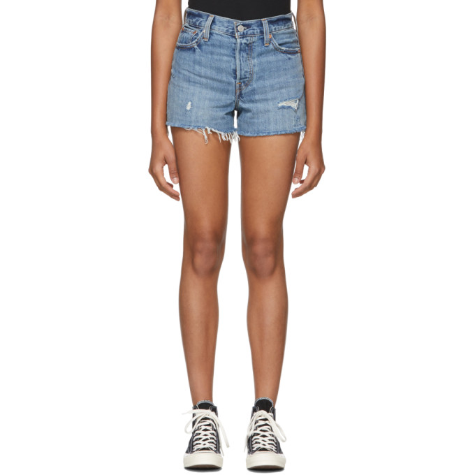 LEVIS BLUE WEDGIE DISTRESSED DENIM SHORTS