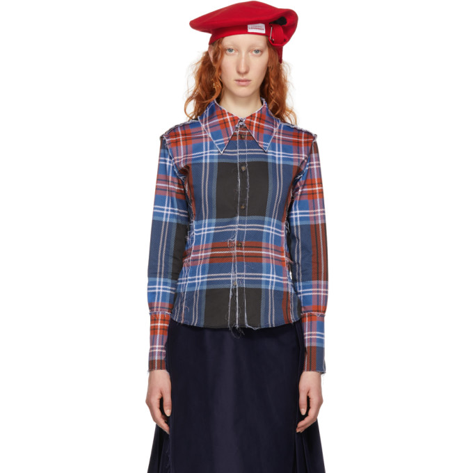 Charles Jeffrey Loverboy BLUE & RED CHECK INSIDE-OUT CORSET SHIRT