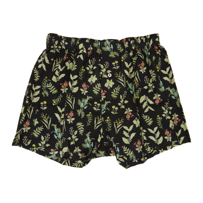 DRUTHERS Druthers Black Wild Flower Boxers