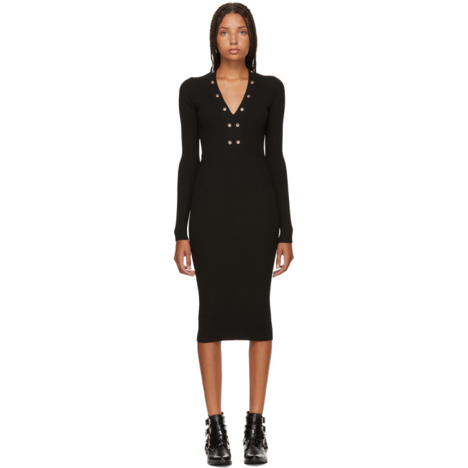 Ribbed Lace-Up Long-Sleeve Dress With Grommet Trim in Black