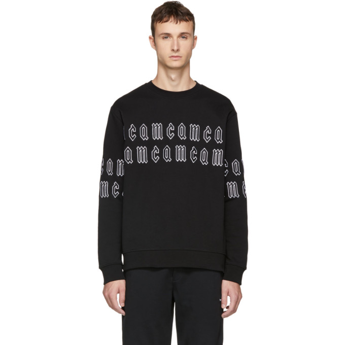 MCQ BY ALEXANDER MCQUEEN Black Gothic Repeat Logo Clean Sweatshirt