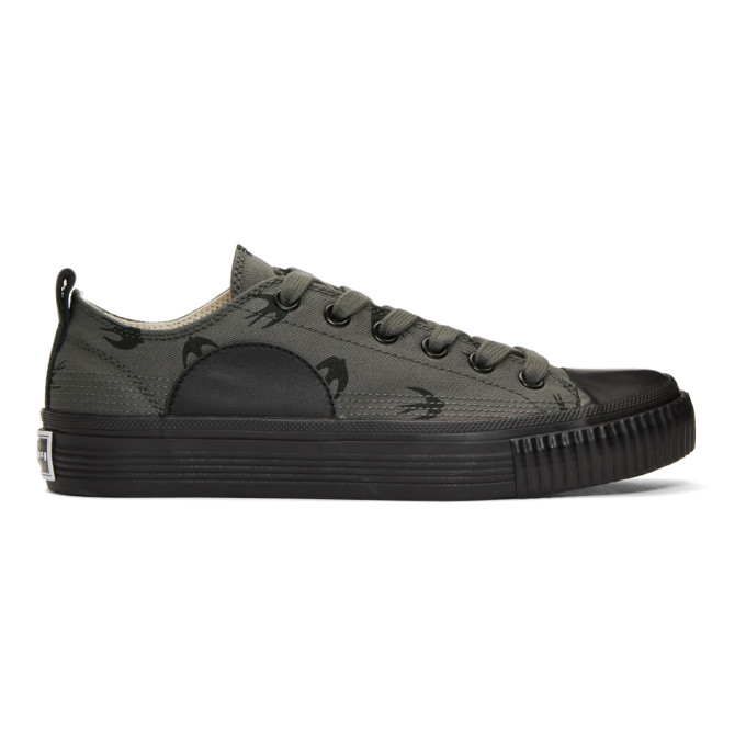 MCQ BY ALEXANDER MCQUEEN Grey & Black Swallows Plimsoll Sneakers