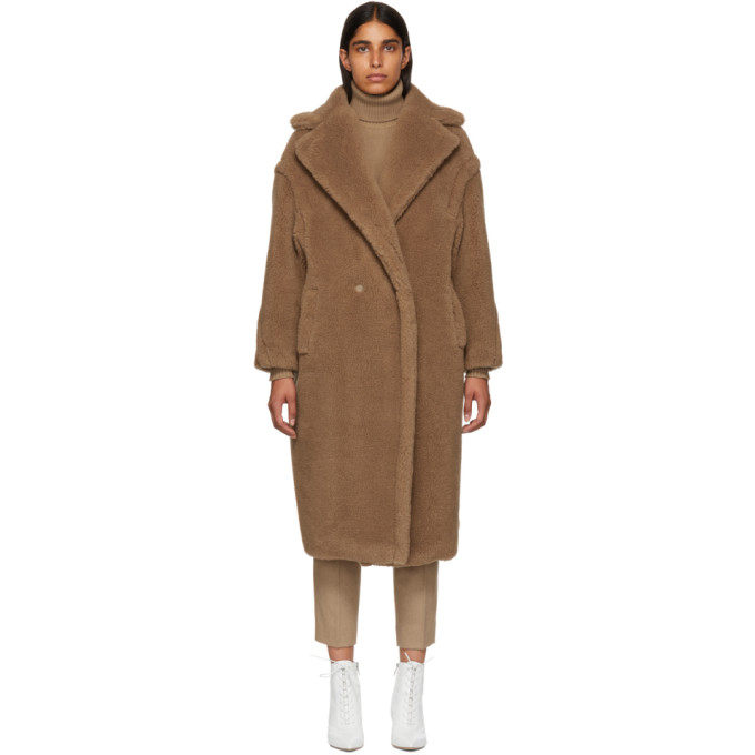 Double-Breasted Camel Hair Blend Teddy Coat in Brown