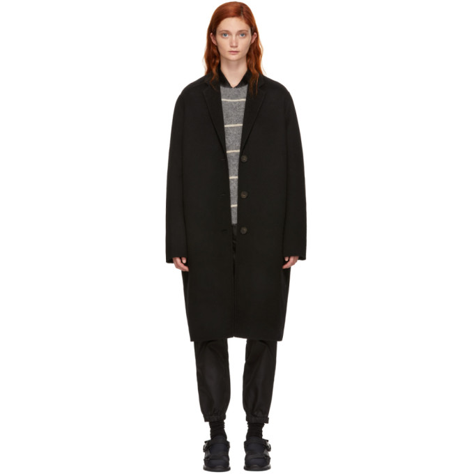 Masculine Tailored Long Coat Black