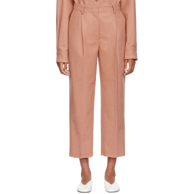 Pink Wool & Cashmere Flannel Trousers from SSENSE