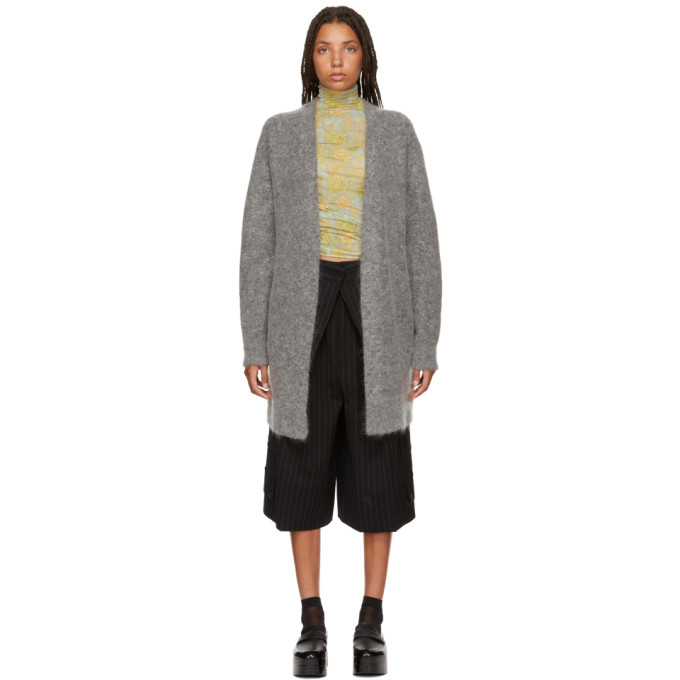 Raya Wool And Mohair-Blend Cardigan in Grey Melang