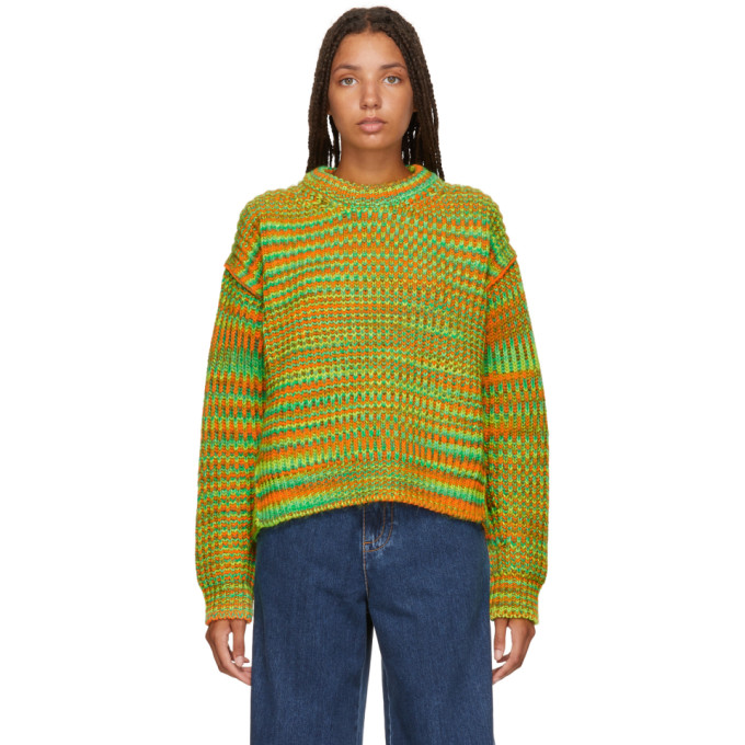 Multicolored Mohair And Wool Sweater, Green/Orang from Acne Studios