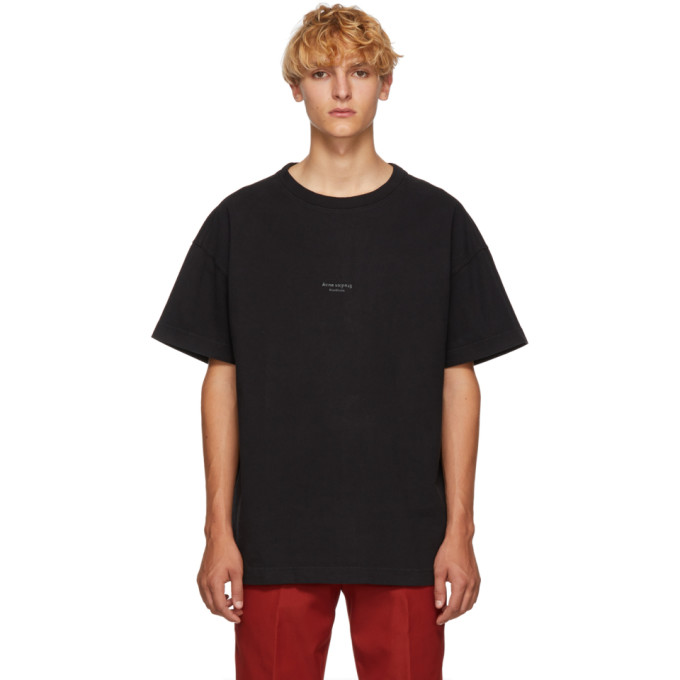 ACNE STUDIOS Logo-Print Garment-Dyed Cotton-Jersey T-Shirt in Black