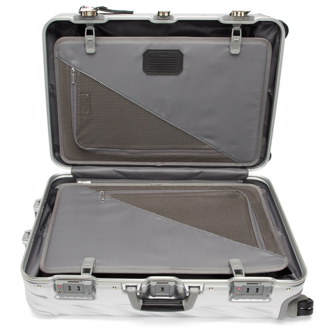 TUMI Silver Aluminum Extended Trip Packing Suitcase