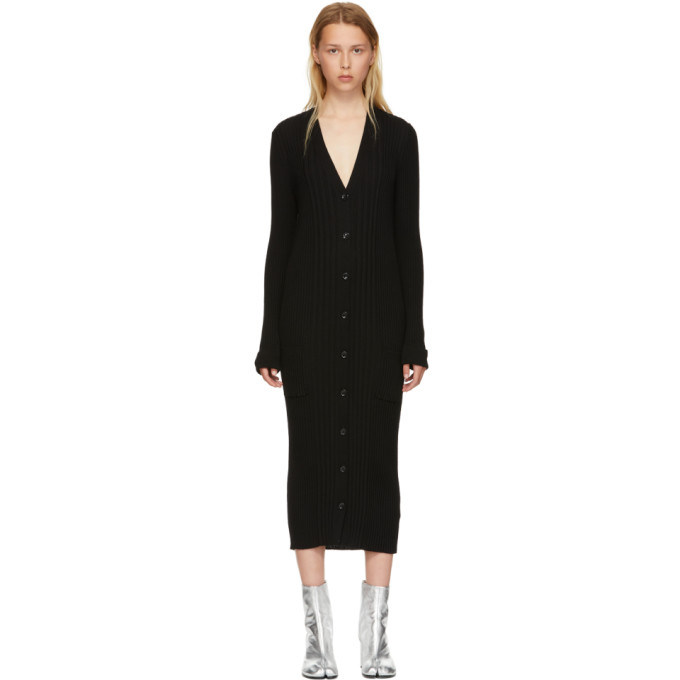 Long Fitted Cardigan in Black
