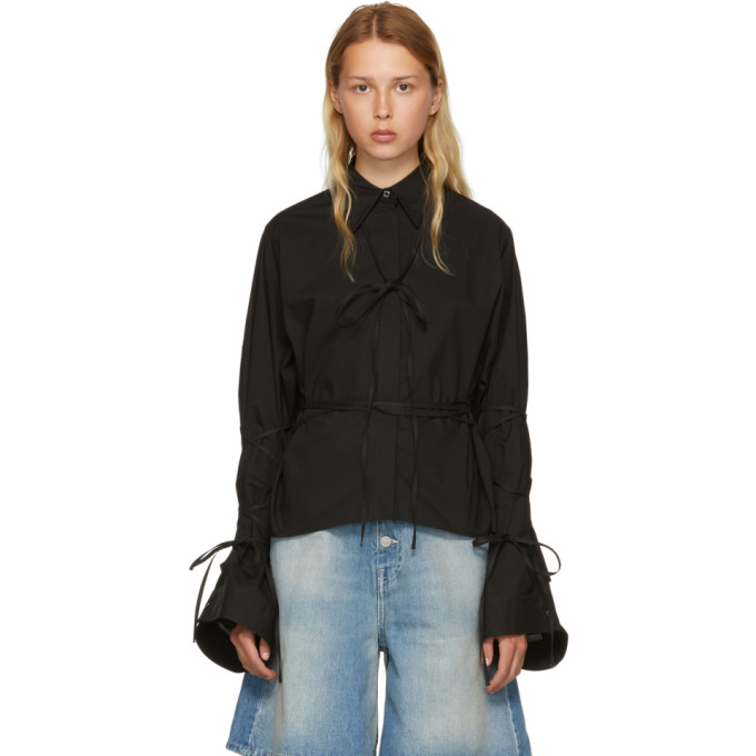 MM6 MAISON MARTIN MARGIELA BLACK STRING SHIRT
