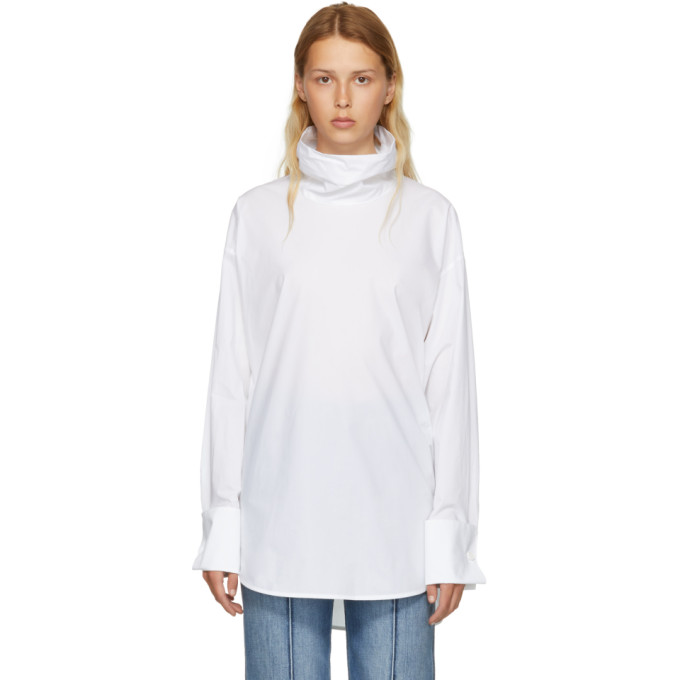 Cotton-Poplin Turtleneck Top in White