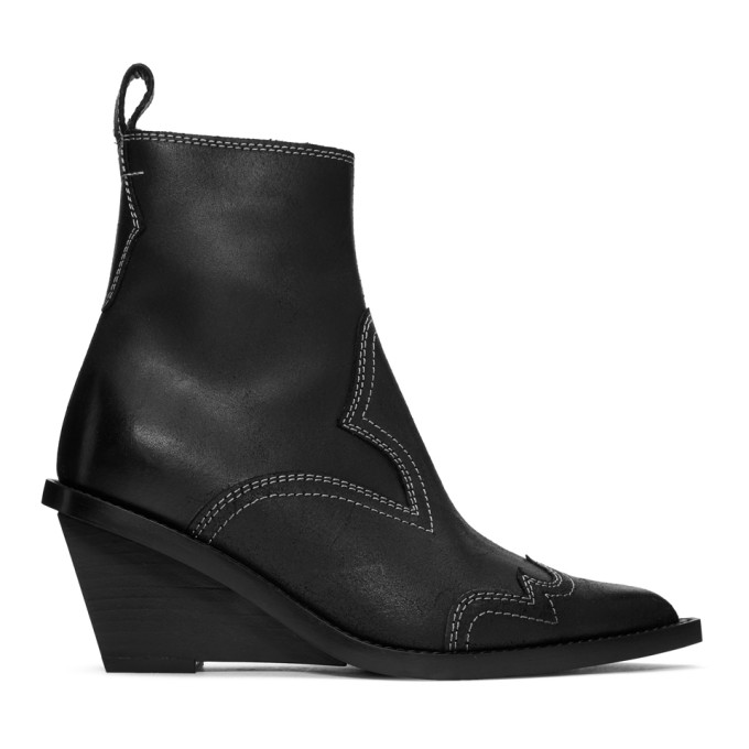 Santiag Leather Ankle Boots - Black Size 9
