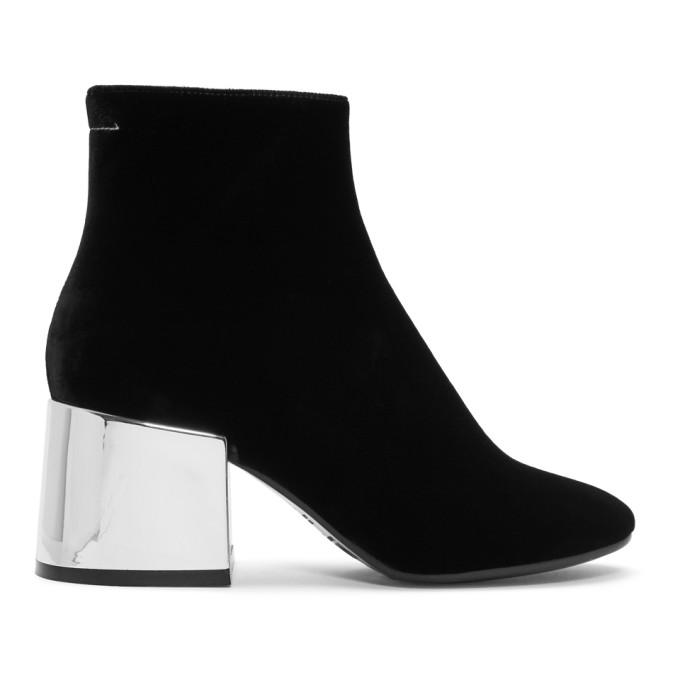 Mm6 Maison Martin Margiela Black Velvet Boots W/Mirror Heels