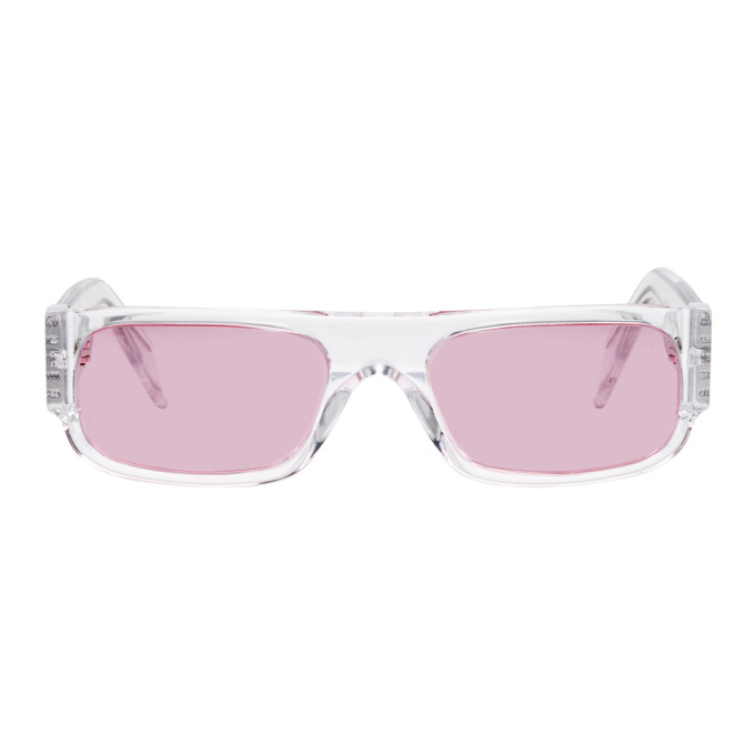 SUPER SSENSE EXCLUSIVE TRANSPARENT AND PINK GLOSSY SMILE SUNGLASSES