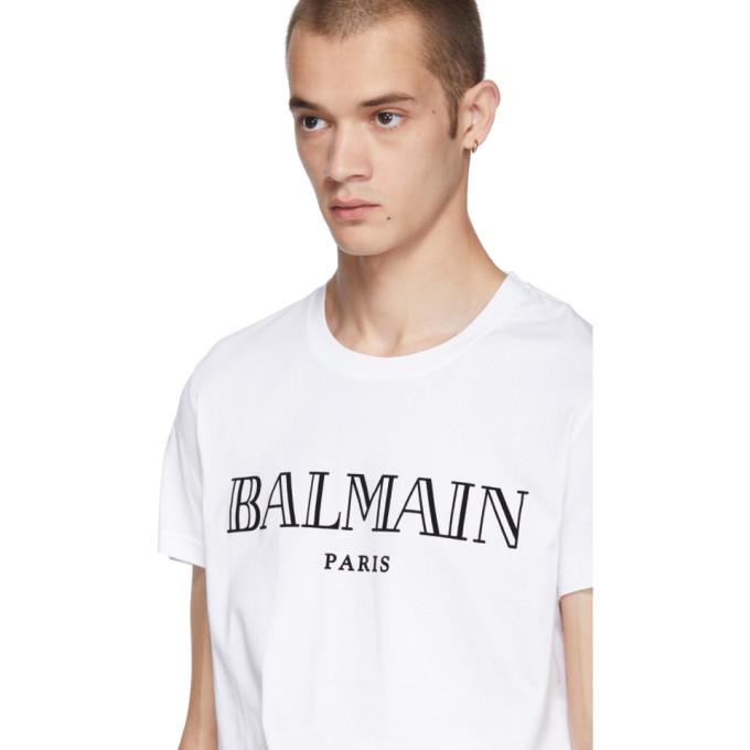 BALMAIN SLIM-FIT LOGO-PRINT COTTON-JERSEY T-SHIRT, WHITE