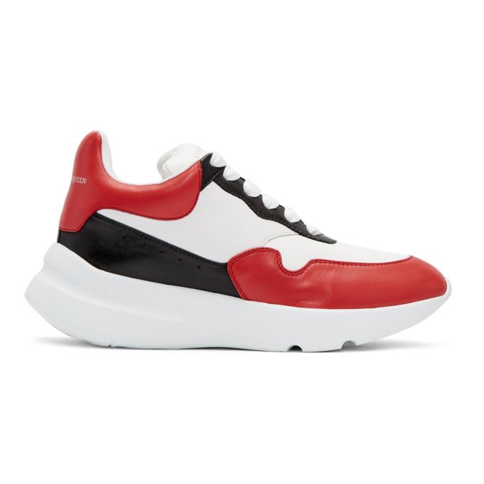 ALEXANDER MCQUEEN White & Red Runner Sneakers