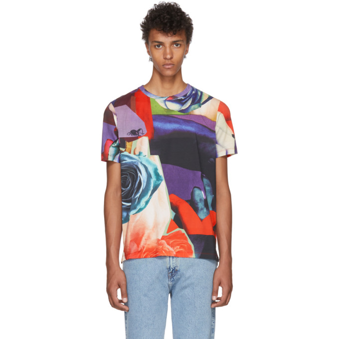PAUL SMITH Digital Floral Print Tee in 92.Rose