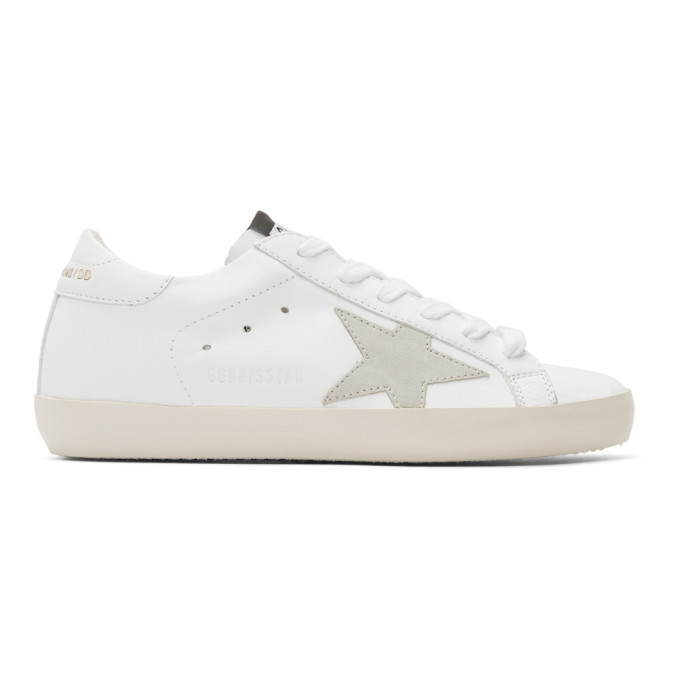 White & Grey Clean Superstar Sneakers by Golden Goose