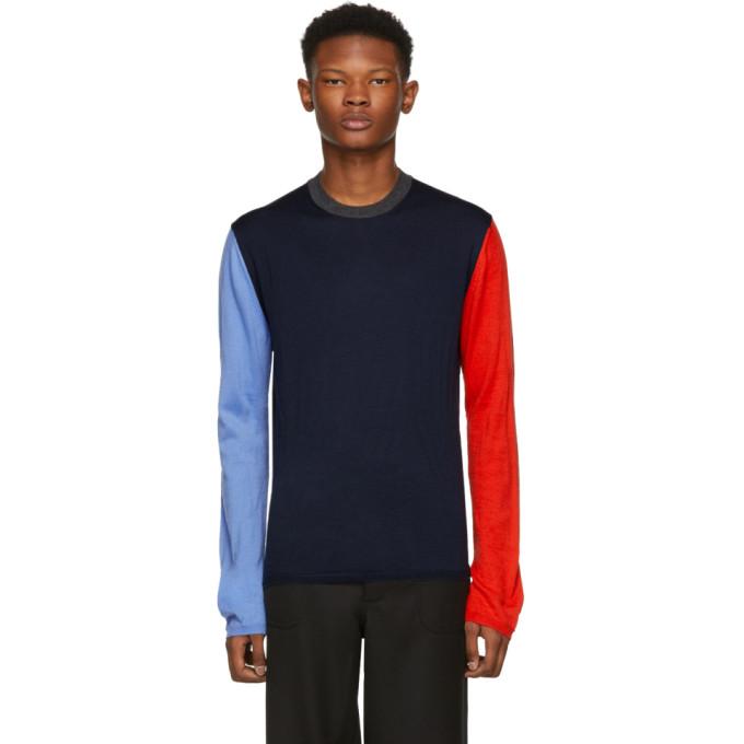 COMME DES GARÇONS SHIRT Comme Des Garcons Shirt Navy Color Mix Crewneck Sweater in Blue