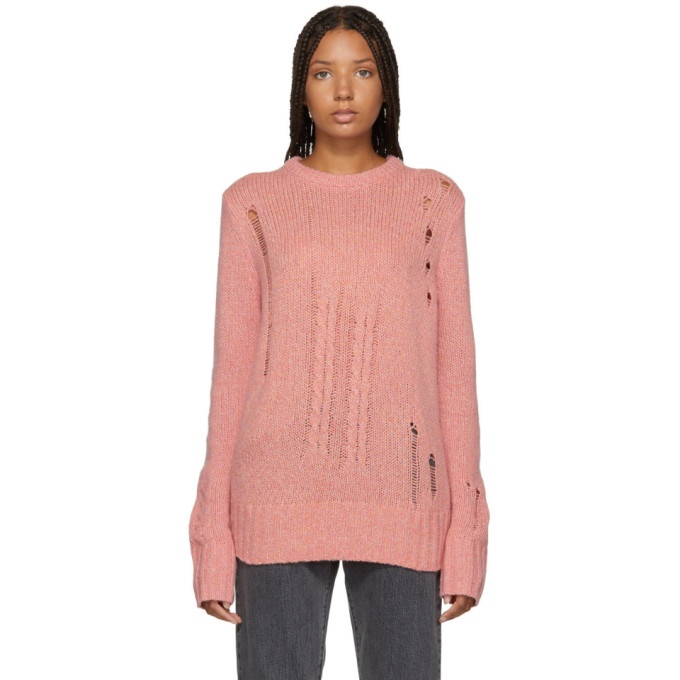 RAQUEL ALLEGRA PINK WOOL AND CAMEL KNIT SWEATER