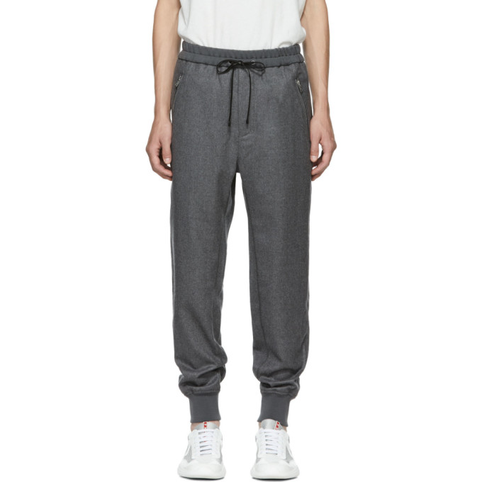 3.1 PHILLIP LIM GREY CROPPED DROP LOUNGE PANTS