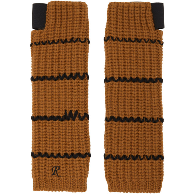 RAF SIMONS Contrast Knitted Gloves in Yellow