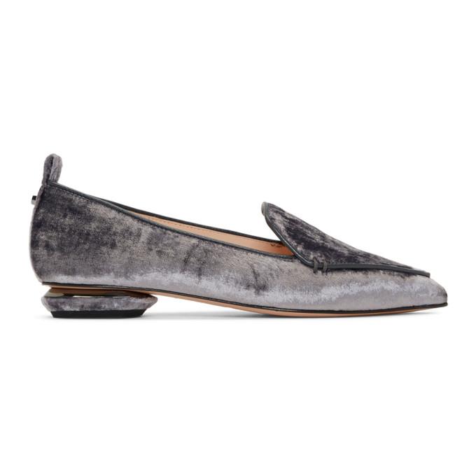 Nicholas Kirkwood Grey Velvet Beya Loafers