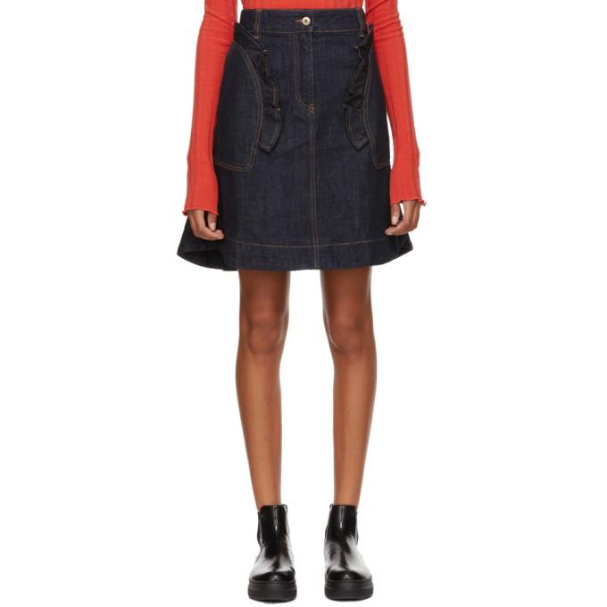 Denim Cotton Flare Skirt, 570 Indigo