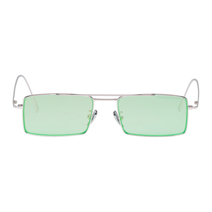 CUTLER AND GROSS SILVER AND GREEN 1308PPL-07 SUNGLASSES