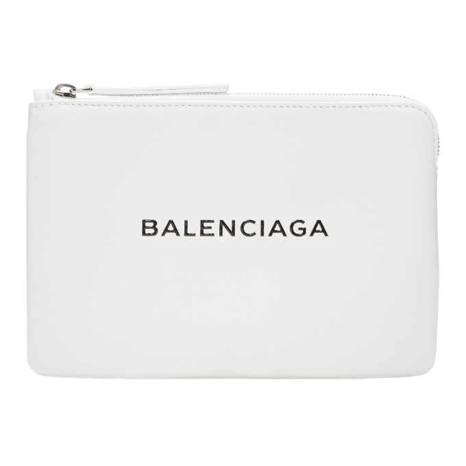 Everyday Logo Leather Pouch - White in 9060 Wht/Bl