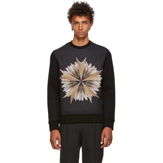 NEIL BARRETT Neil Barrett Geometric Print Sweatshirt - Black, 516 Blkgold