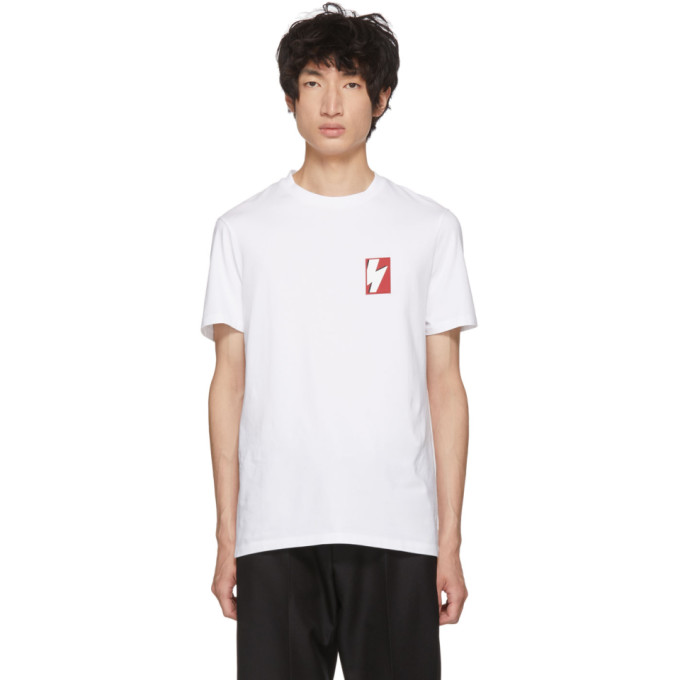NEIL BARRETT White Pop Art Thunderbolt T-Shirt