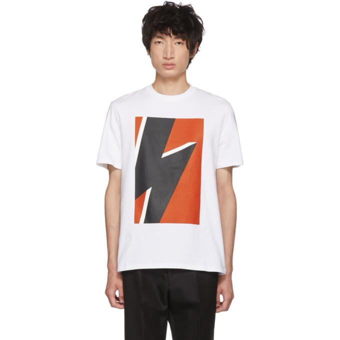 NEIL BARRETT White & Red Pop Art Thunderbolt T-Shirt