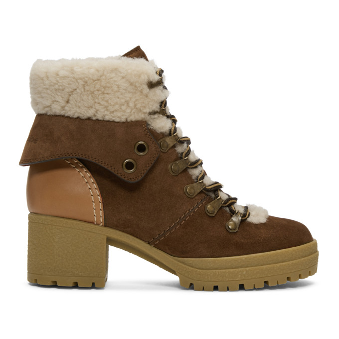 SEE BY CHLOE TAN EILEEN LACE-UP HEELED BOOTS