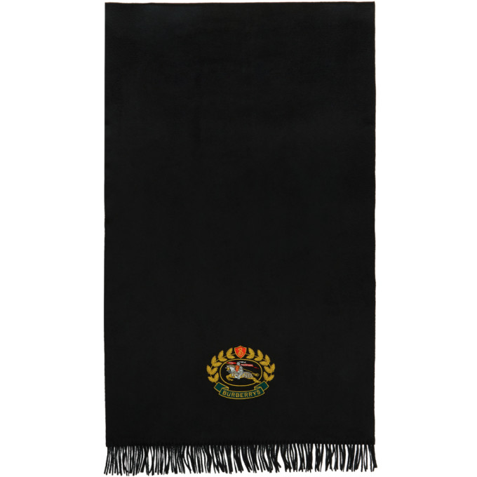 BURBERRY The Large Classic Cashmere Scarf With Archive Logo in Black