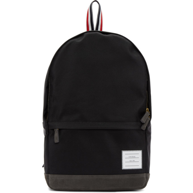 Unstructured Backpack In Nylon And Suede in Black