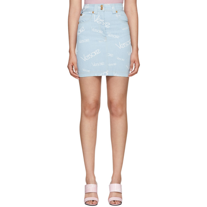 Blue Logo Stamp High Waisted Miniskirt by Versace