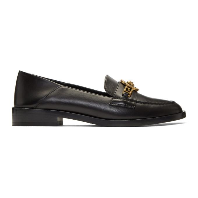 Versace Black Tribute Medusa Folded Loafers, K41T Black