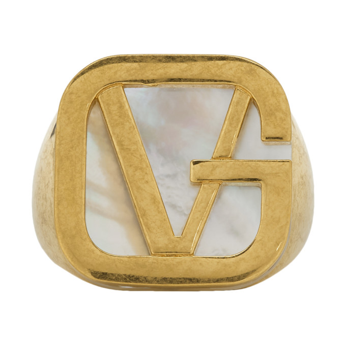 VERSACE GOLD GV PEARL RING